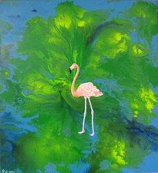 Flamingo i det gröna