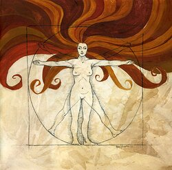Vitruvian woman - red