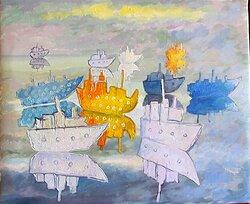 Pappersbåtar 3 Oljemålning