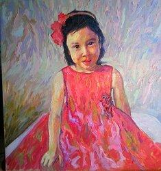 Flicka i röd klänning