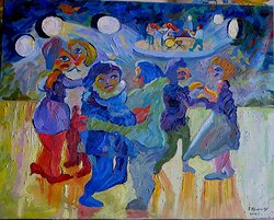 Dans i det fria III Oljemålning