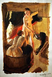 "Studie efter Anders Zorn, ""Badande Kullor"""