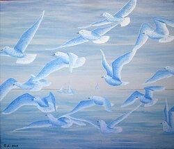 Fåglar i det blå