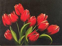 En bukett med röda tulpaner