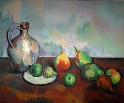 Stilleben med tillbringare och frukt