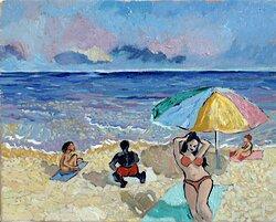 Beach Oljemålning