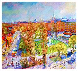 Nytorget från balkongen  Digital målning