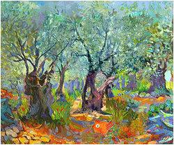 Olivträd med röd tupp Digital målning