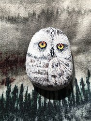 #4 Original Hand Painted Little Owl Rock