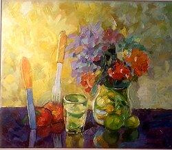 Blommor och kniv Oljemålning