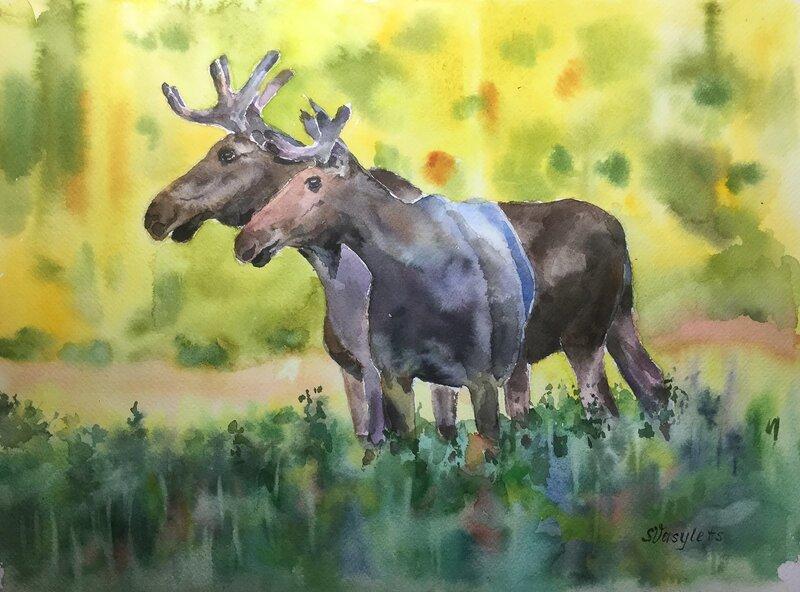 Akvarell Älgar och höst, Svitlana Vasylets