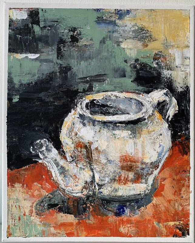 Akrylmålning Teatime, Sirpa Tiderman