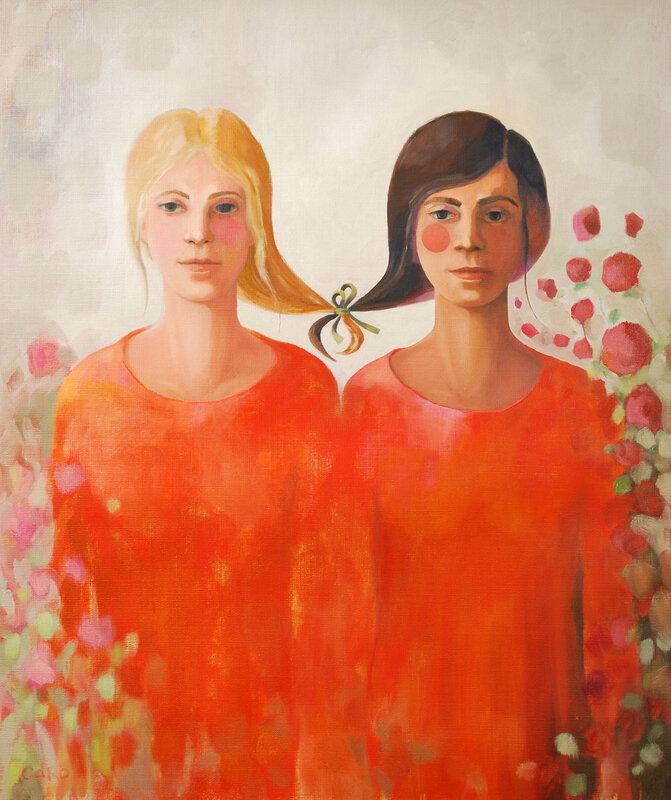 Oljemålning Best Friends of Flowers, Caroline Roberts
