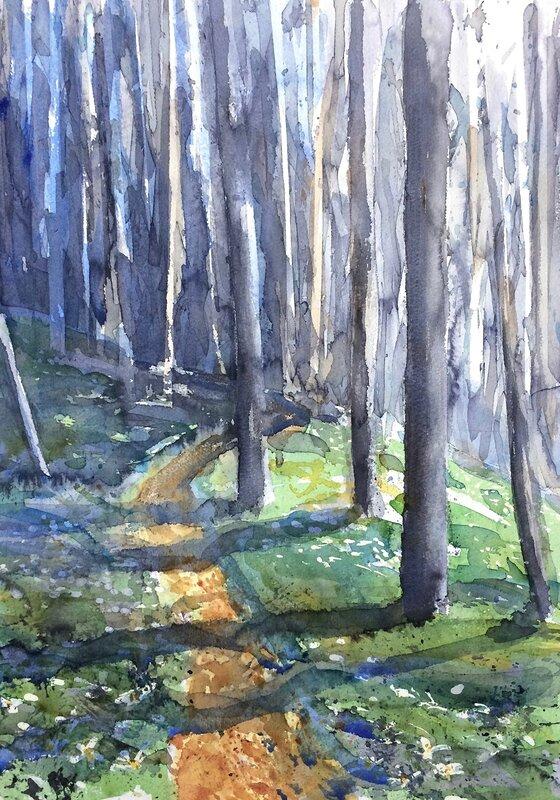 Akvarell Vägeröds dalar, Tord Wennerblom
