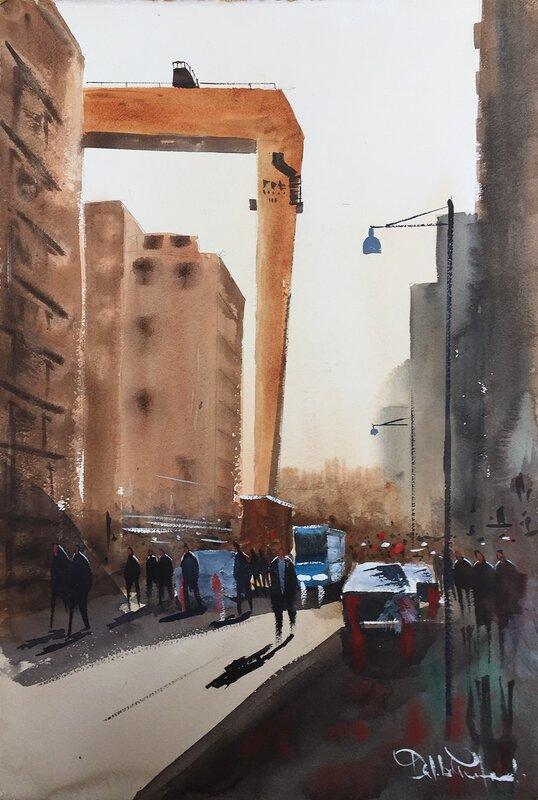 Akvarell Bockkranen, Eriksberg,Göteborg, Dalibor Eminefendic