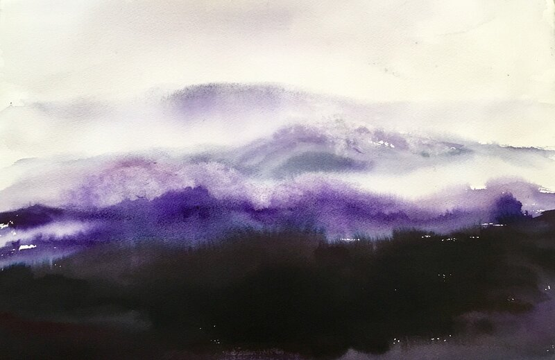Akvarell Bortom bergen, Gunilla Tuvin