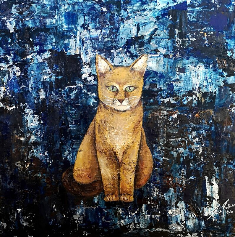 A Cat in the Abstract Blue