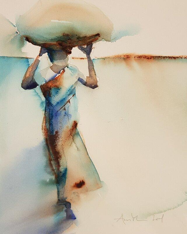 Akvarell Saree woman lll, AnnMari Löf