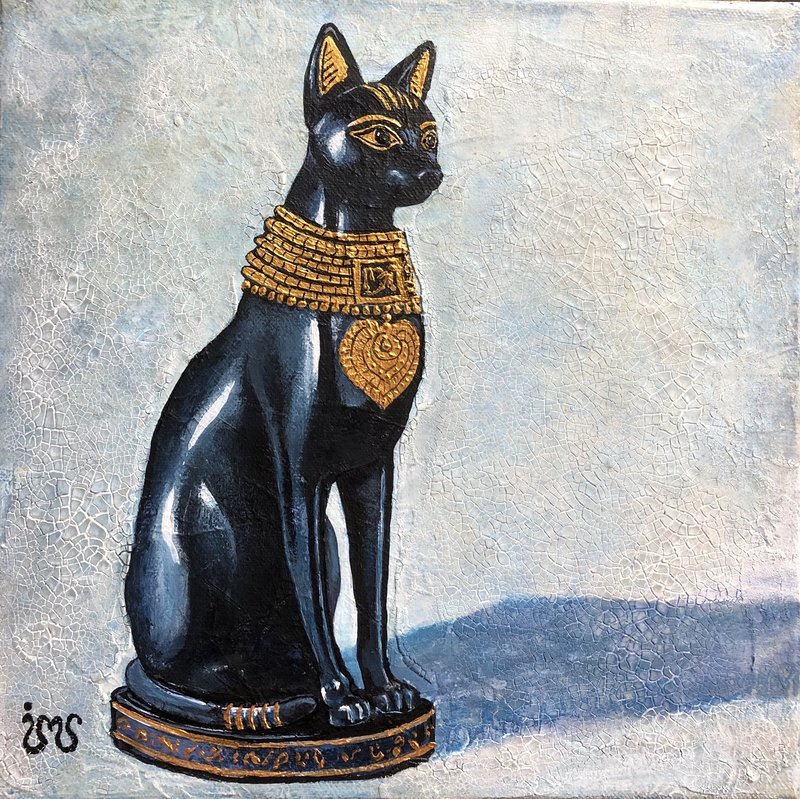 Akrylmålning Egyptisk Katt, Ing-Marie Seijsing