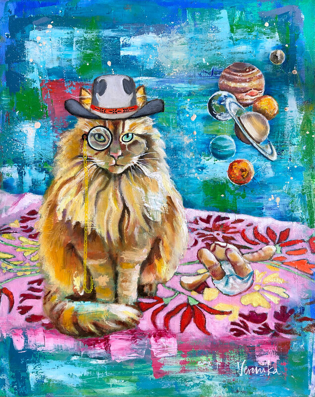 Oljemålning Cat on a flying carpet suddenly realises that another planet is missing from the solar system, Veronika Yngwe