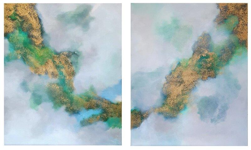 Akrylmålning Nu grönskar det, Alexandra JS