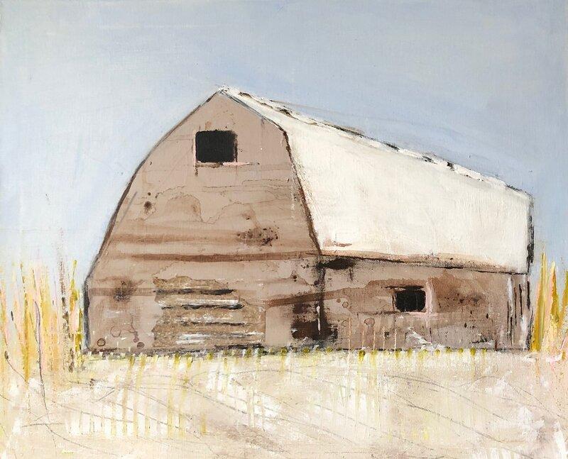 Akrylmålning Hus från Lofoten, Kia Kinell