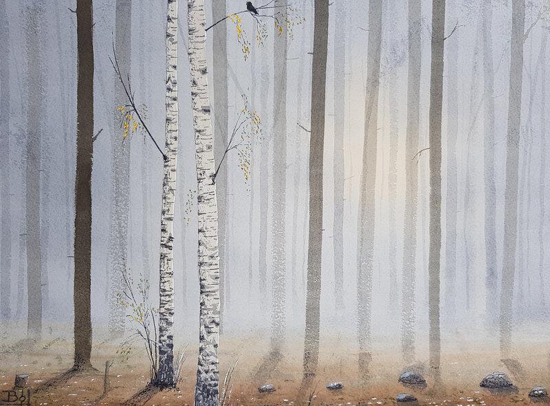 Akvarell Skog, Bo Hoflin