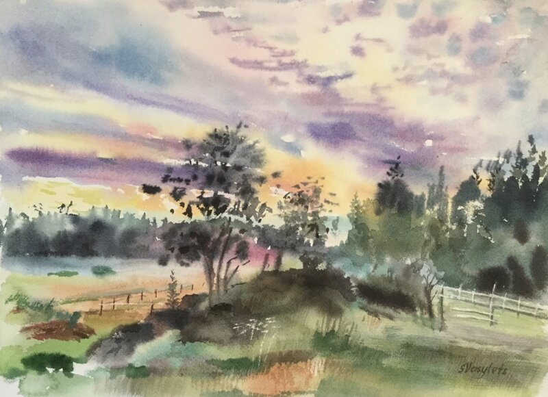 Akvarell En sommarkväll, Svitlana Vasylets