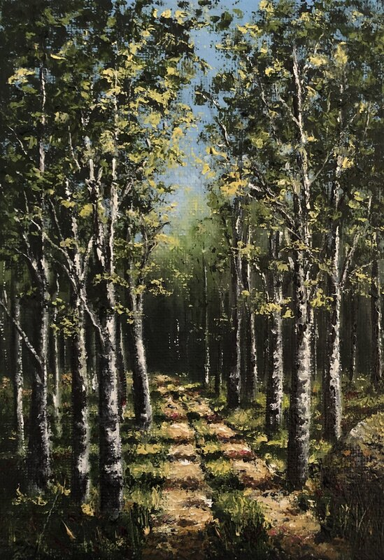 Oljemålning På väg..., Helen Boreson Holmberg