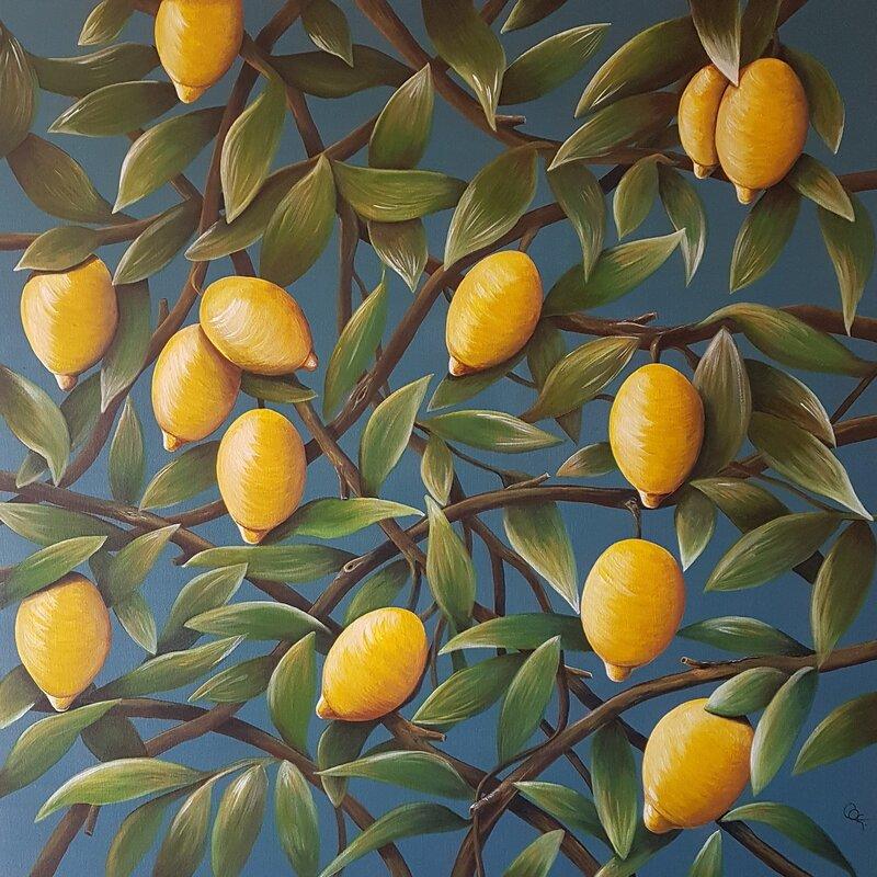 Akrylmålning Citroner, Catarina Gyllander