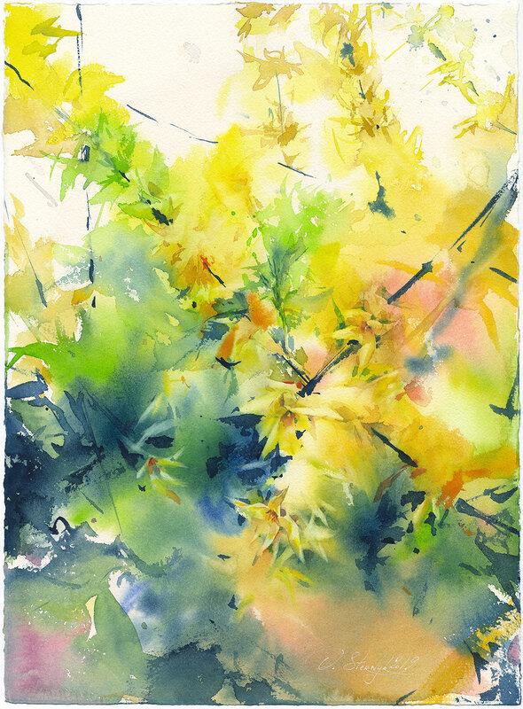 Akvarell Forsythia, Olga Sternyk