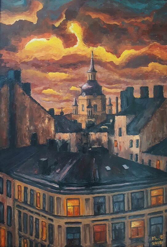 Oljemålning Skymning över Katarina kyrka, Mats Eriksson