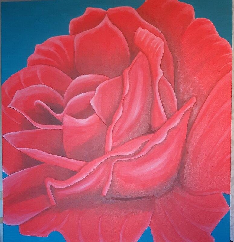Akrylmålning Röd ros, Gösta Lindunger