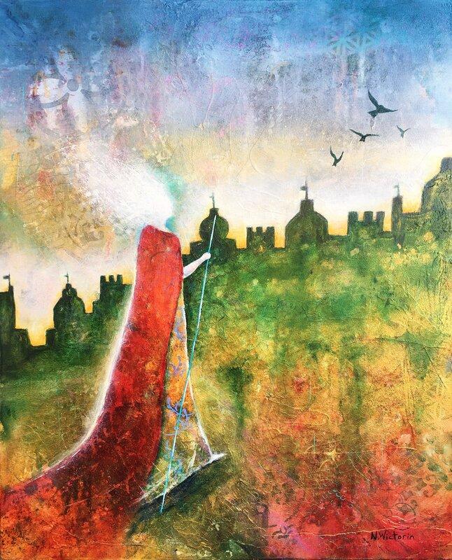 Akrylmålning Golden City II, Nina Wictorin