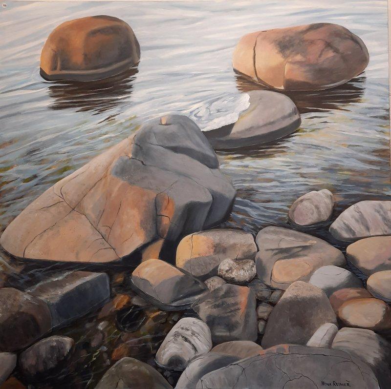 Akrylmålning Stenar i kvällsljus, Mona Reimer