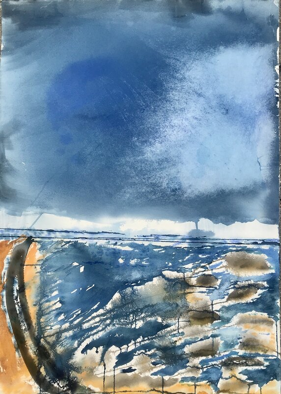 Akvarell Blå frihet 1, Lena Sjöberg