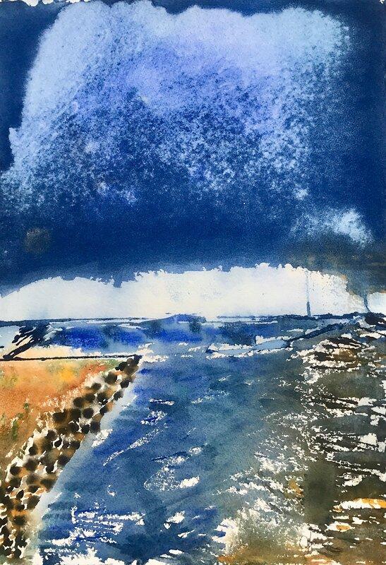 Akvarell Blå frihet 2, Lena Sjöberg