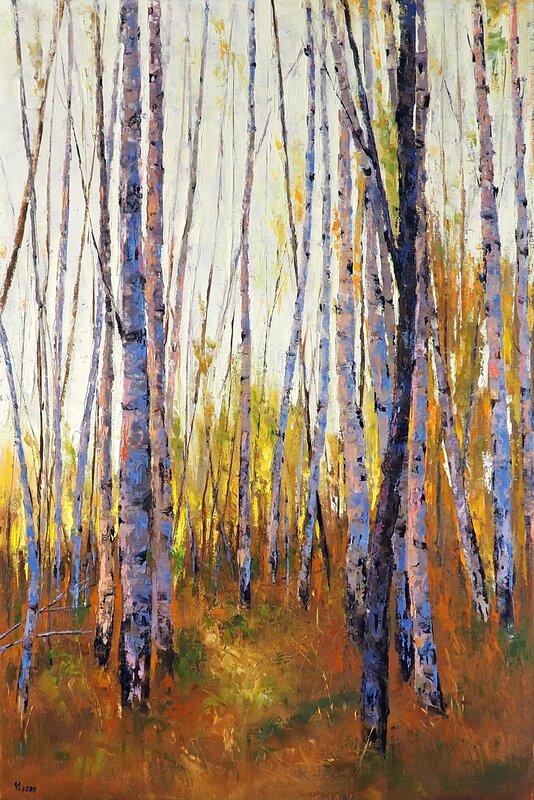 Oljemålning Höstskog, Yuanyuan Liu