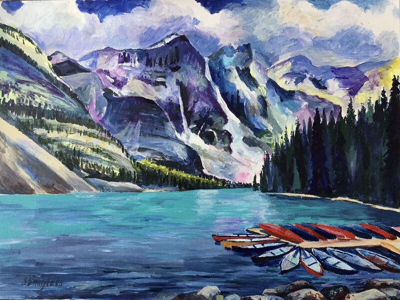 Akrylmålning Moraine Lake. Banff., Svitlana Vasylets