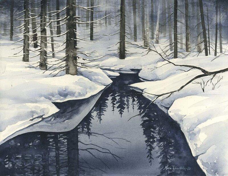 Akvarell Vinterbäck, Maria Tjärnström