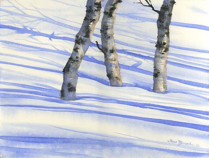 Akvarell Fjällbjörkar, Maria Tjärnström
