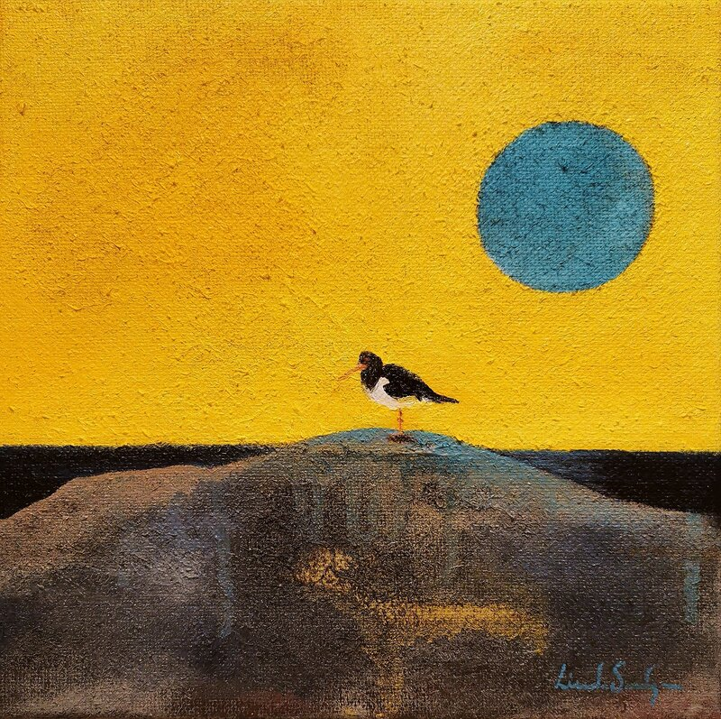 Akrylmålning Gul Himmel, Linda Sandgren