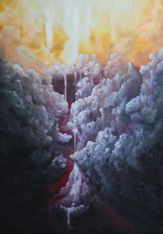 Oljemålning Waterfall of light 2, John Eriksson