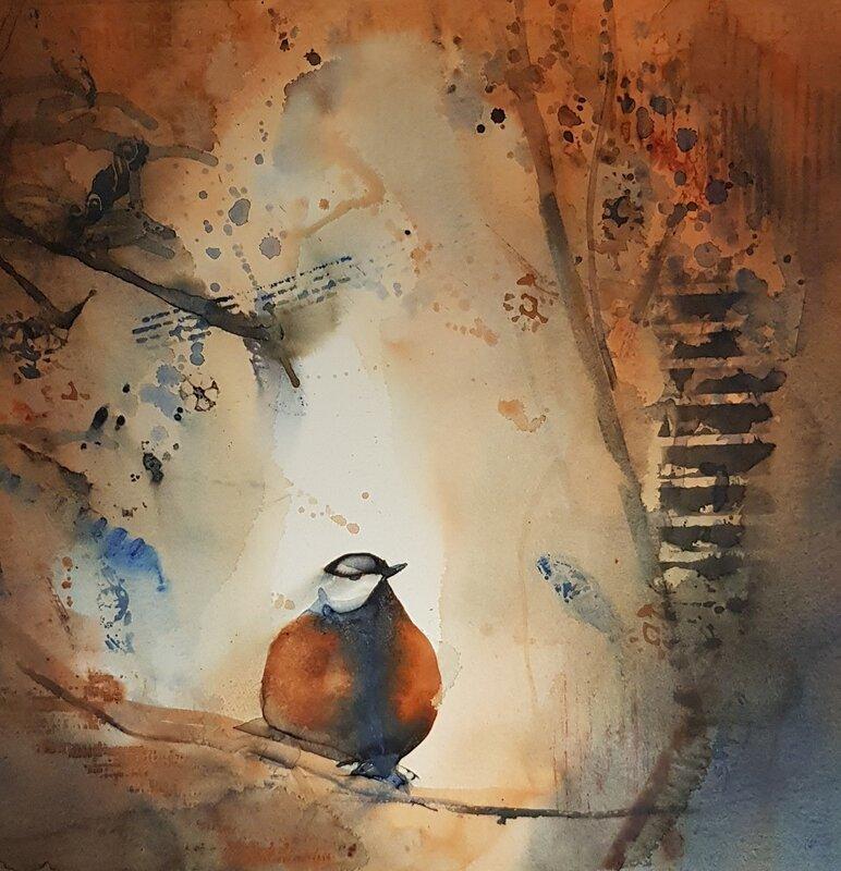 Akvarell Skogsfågel, AnnMari Löf