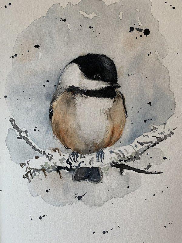 Akvarell Talltita, Ingela Matsson