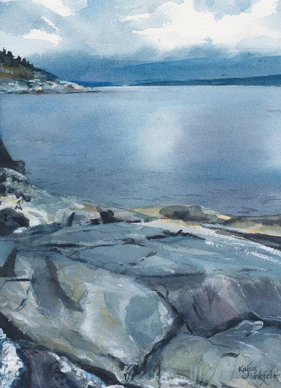 Akvarell Blå klippor och hav, Kajsa Flinkfeldt