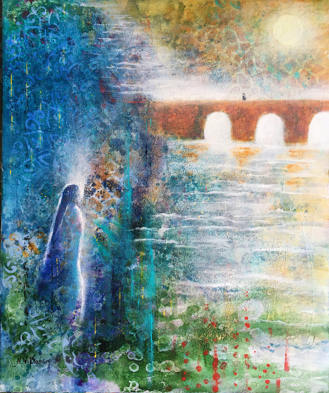 Akrylmålning The Bridge, Nina Wictorin