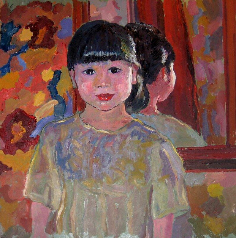Flicka framför spegeln