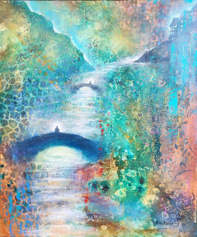 Akrylmålning The Bridges of Memory, Nina Wictorin