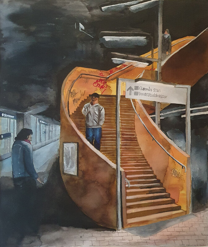 Akvarell Slussen, Isak Hellström